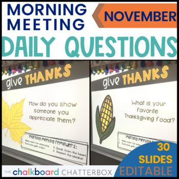 November Morning Meeting Questions