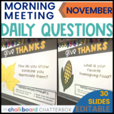 November Morning Meeting Questions
