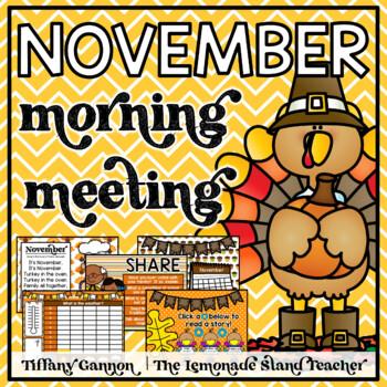 November Morning Meeting and Calendar First Grade