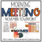 November Morning Meeting and Calendar for Lower Elementary