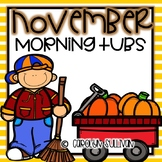 November Morning Tubs Activities for Kindergarten