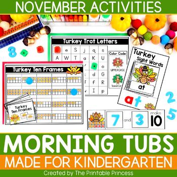 November Morning Tubs for Kindergarten | Kindergarten Morning Work Tubs
