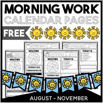 November Calendar Work | FREE