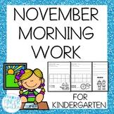 Kindergarten Morning Work- November