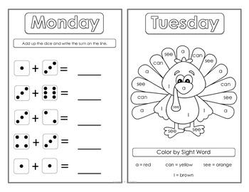 November Morning Work Booklets