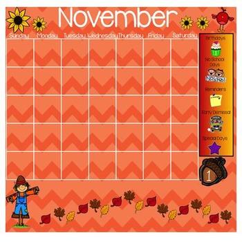 November Morning Work Calendar