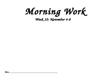 November Morning Work- Common Core