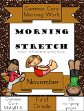 November Morning Work: First Grade Common Core Morning Stretch