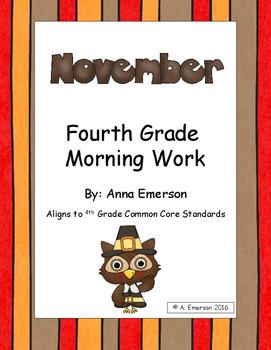 November Morning Work Fourth Grade Common Core Standards