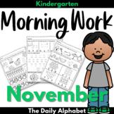 Kindergarten Morning Work November