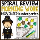 November Morning Work Kindergarten
