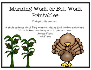 November Morning Work Printables