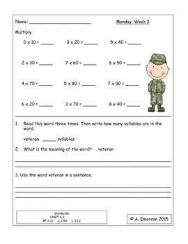 November Morning Work Third Grade Common Core Standards