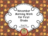 November Morning Work for First Grade