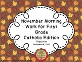 November Morning Work for First Grade Catholic Edition
