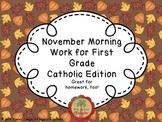 November Morning Work for First Grade Catholic Edition