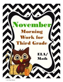 November Morning Work for Third Grade