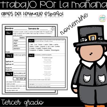 November Morning Work for Third Grade in Spanish