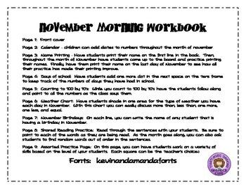 November Morning Workbook