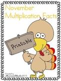 November Multiplication Printables