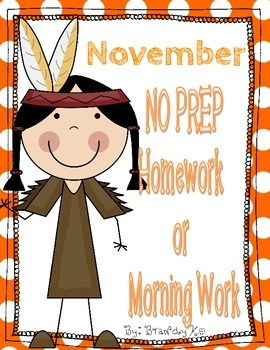 November NO PREP Kindergarten Homework or Morning Work