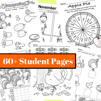 November NO PREP Kindergarten Pack