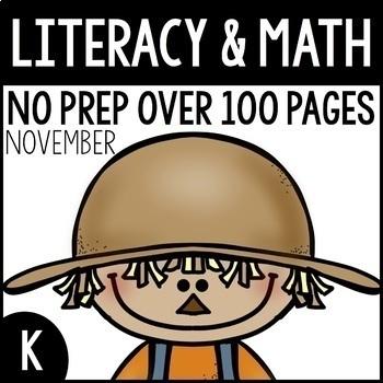 November NO PREP Kindergarten Packet-Over 100 Pages!