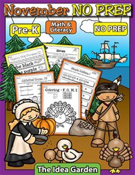 November NO PREP - Math & Literacy (Pre-K)