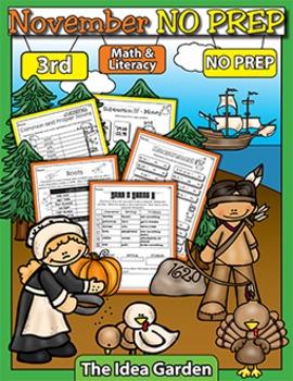 November NO PREP - Math & Literacy (Third)