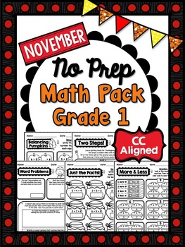 November NO PREP Math - 1st Grade