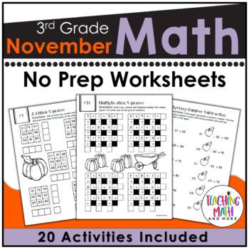 November NO PREP Math Packet - 3rd Grade