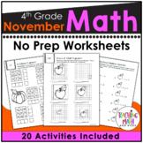 November NO PREP Math Packet - 4th Grade