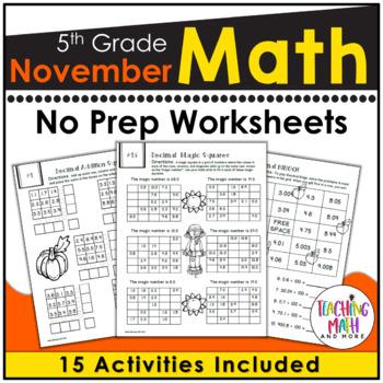 November NO PREP Math Packet - 5th Grade