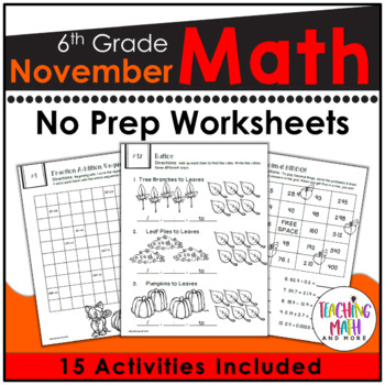 November Math Worksheets 6th Grade | November Math Activities Middle School