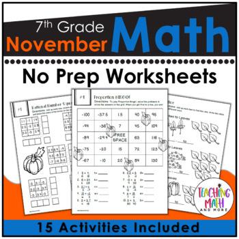 November Math Worksheets 7th Grade   Math Activities Middle School November