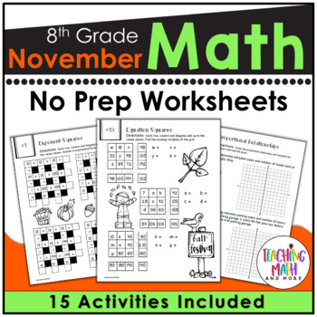 November NO PREP Math Packet - 8th Grade