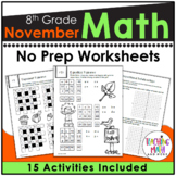 November NO PREP Math Packet - 8th Grade