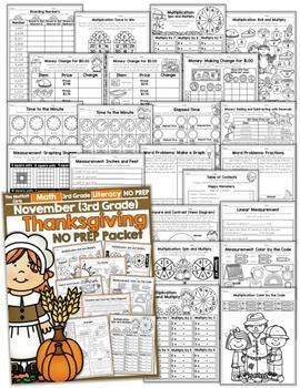 November NO PREP Math and Literacy (3rd Grade)