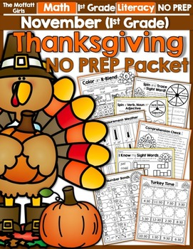 November NO PREP Math and Literacy Packet (1st Grade)