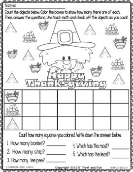 November NO PREP Printables Thanksgiving Fun  Common Core and MAFS Worksheets