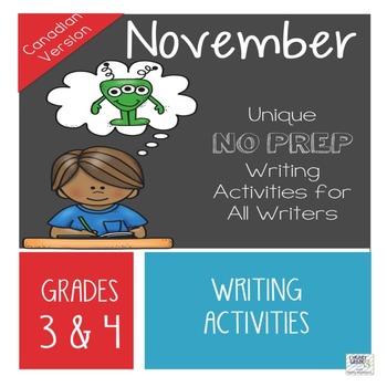 November NO PREP Unique Writing Activities - Canadian Version