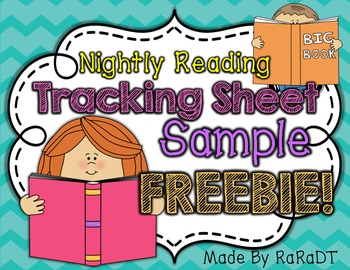 Nightly Reading Tracking Sheet Sample FREEBIE!