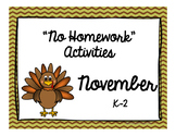 "November ""No Homework"" Menu"