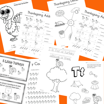 November No-Prep Activities for PreK - Kindergarten (Thanksgiving Themed)