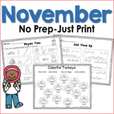 November No Prep Just Print Math and Literacy for Kindergarten