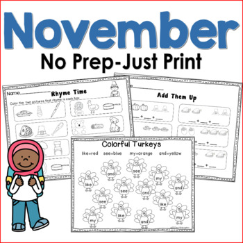 November No Prep Just Print Math and Literacy for Kindergarten