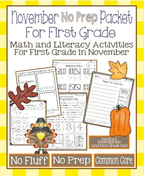 November No Prep Math and Literacy Packet for First Grade (Common Core)
