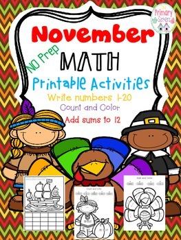 Thanksgiving Math November No Prep Math printable Activities