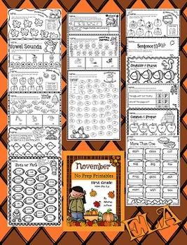 November NO PREP Printables (First Grade)