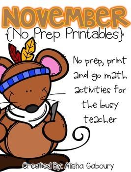 November No Prep Printables [Monthly No Mayhem]
